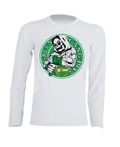 Obrazek Koszulka dziecięca longsleeve Green Gang biała