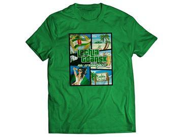 Obrazek Koszulka wakacje zielona damska
