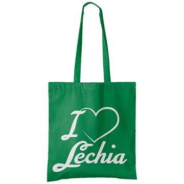 """Obrazek Torba bawełniana zielona      """"I love Lechia"""""""